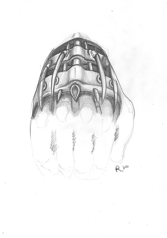 Disegno per tatuaggio a mano biomeccanico