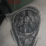 """Tributo """"zombie"""" a Escher in bianco e nero"""