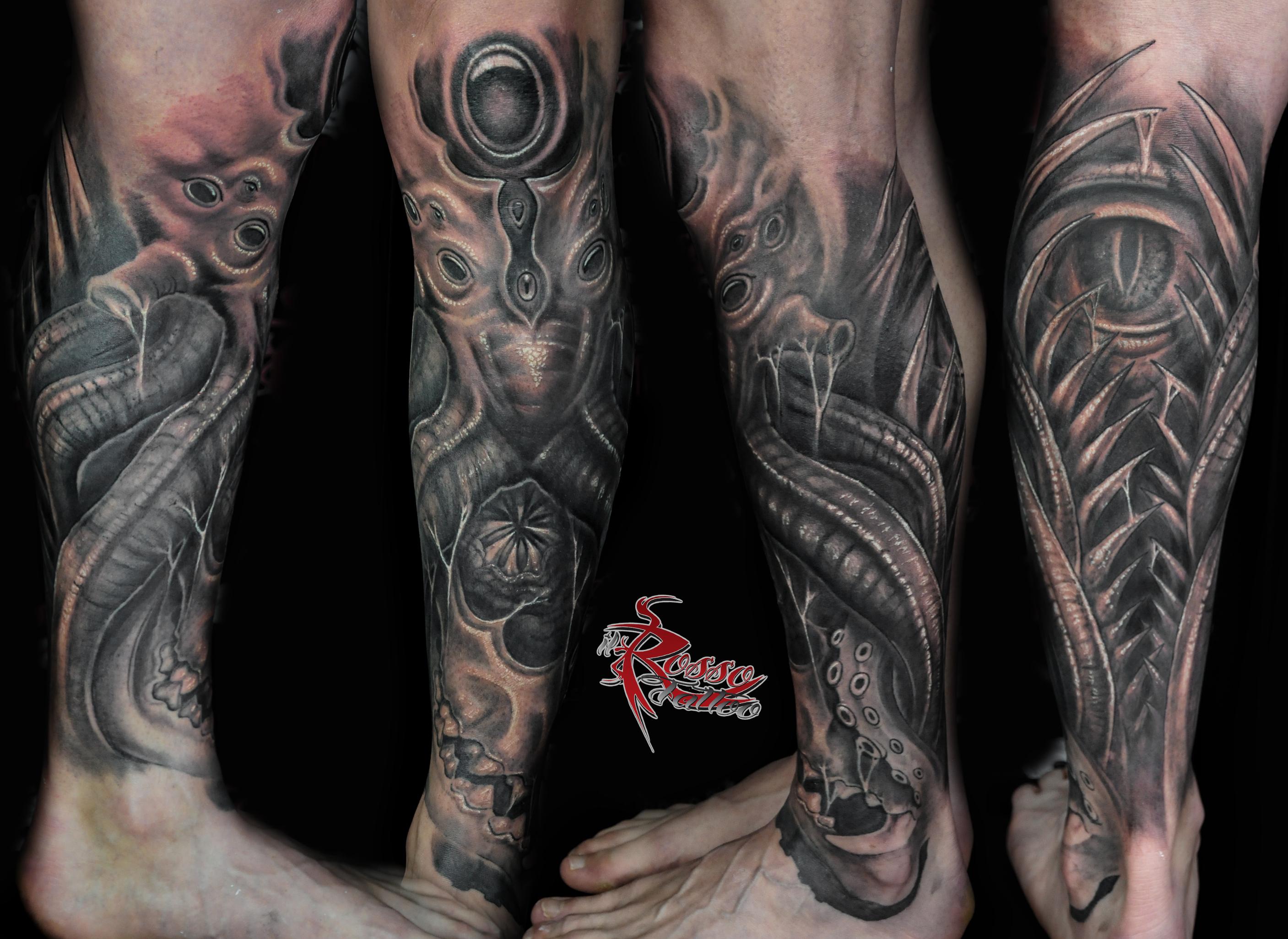 gamba bioorganica tatuaggi biomeccanici biorganici e